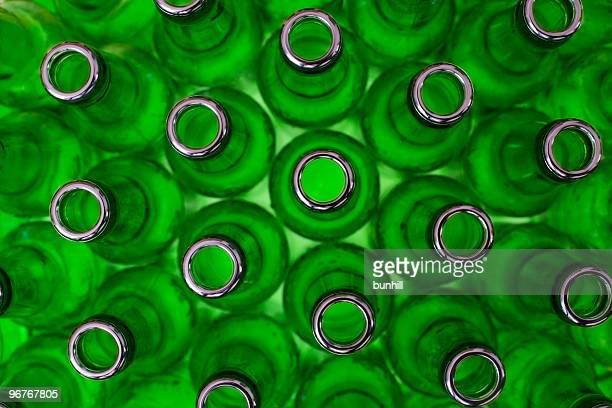 Botellas de lavado de vidrio verde de reciclaje