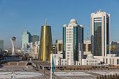 Green Boulevards with Bajterek Tower in Astana on November 10 2014 in Astana Kazakhstan