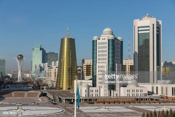 Green Boulevards with Bajterek Tower in Astana on November 10 2014 in Astana Kazakhstan