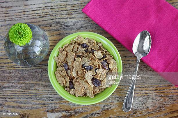 Green Bowl of Fiber and Raisin Cereal