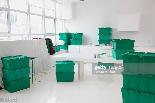 Green boxes in empty house