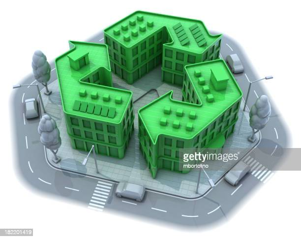 Green buildings in recycle formation in the middle of gray