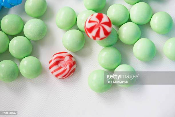 Green candies and peppermints