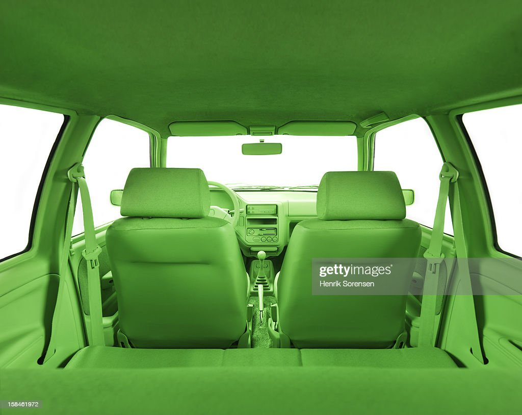 Green car, environment- In the back of the car : Stock Photo