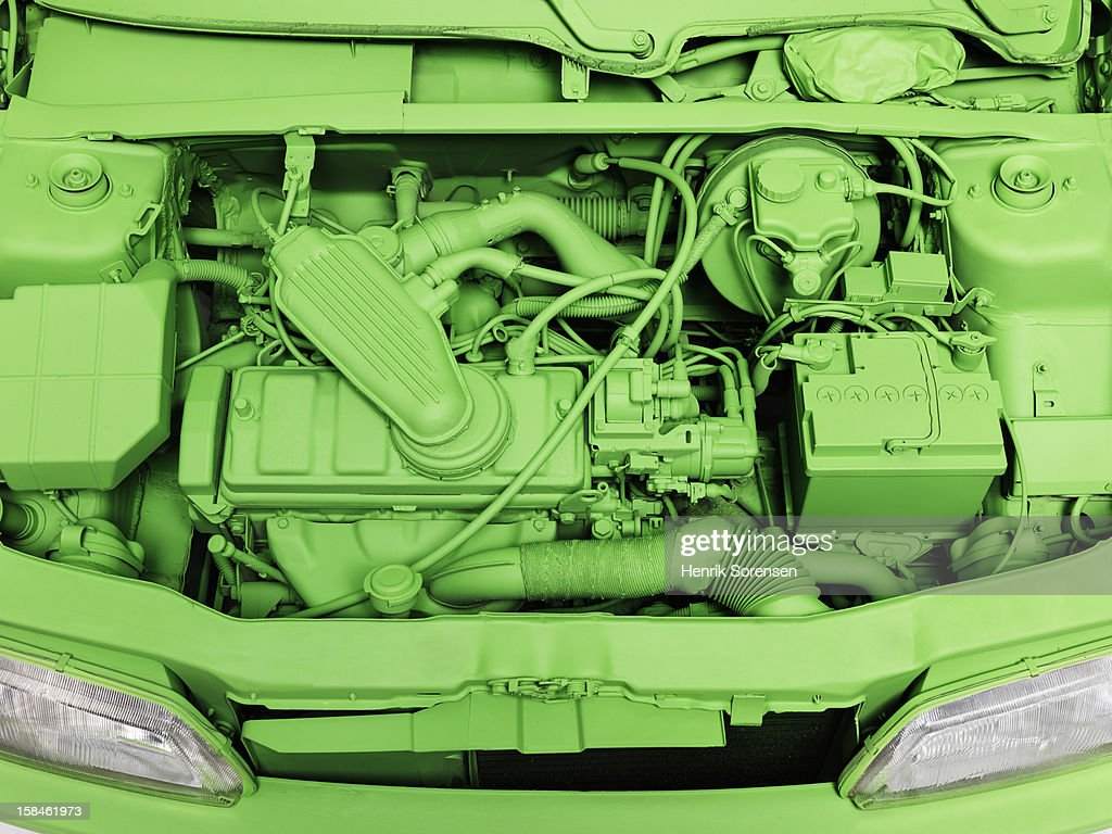 Green car, environment. (The engine) : Stock Photo
