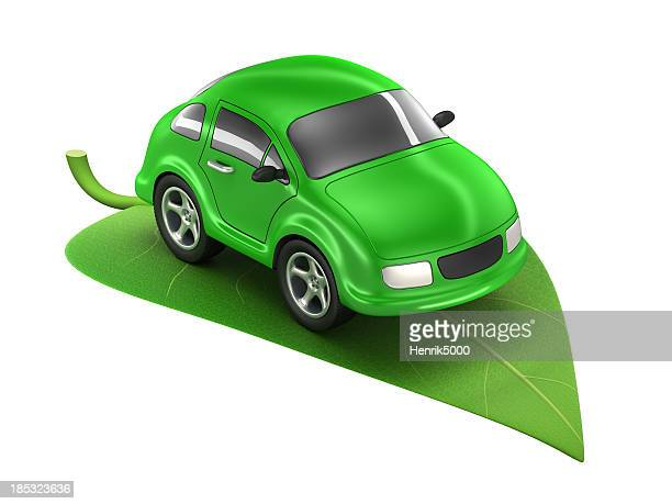 Green Car on leaf - isolated / clipping path