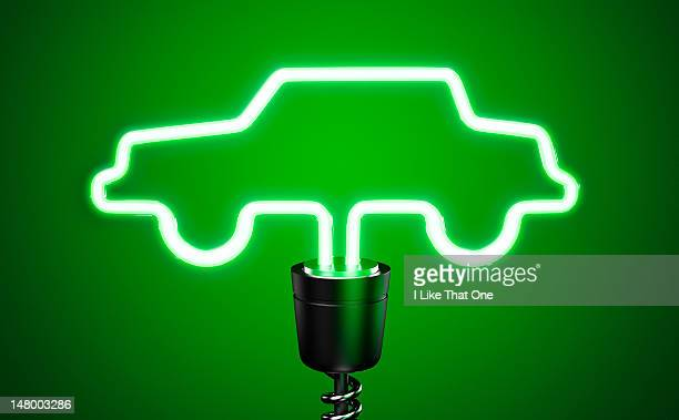 Green, car shaped energy saving eco lightbulb