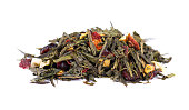 Green Ceylon tea with berries and fruits - apple, dog-rose, strawberry and cranberry, isolated on white background