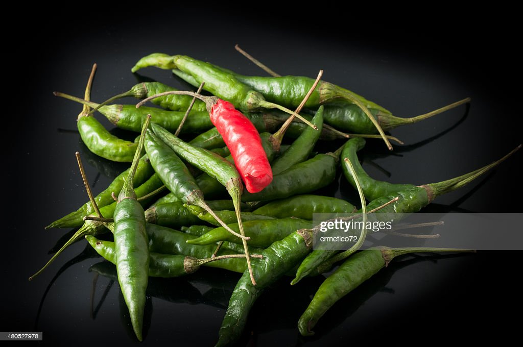 green chili peppers and red : Stockfoto