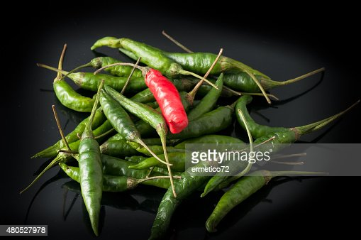green chili peppers and red : Stock Photo