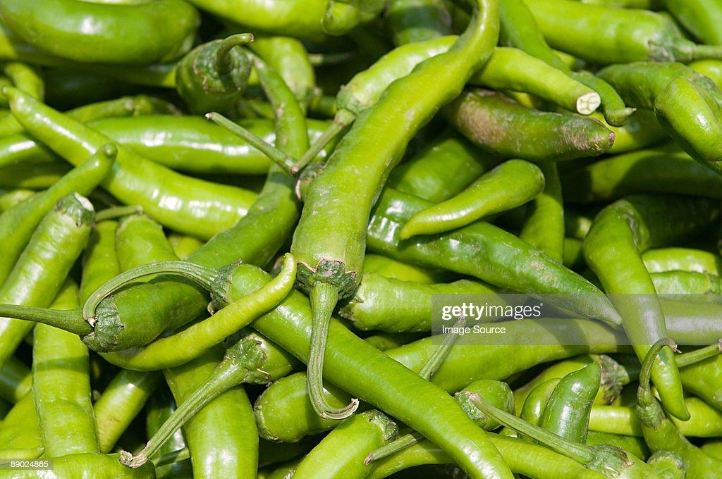 Green chillis : Stock Photo