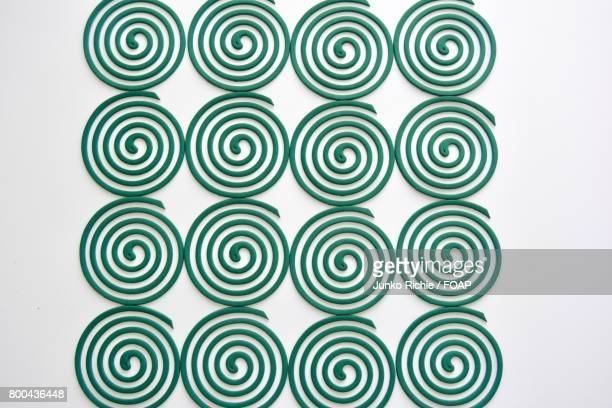 Green coils on the white background