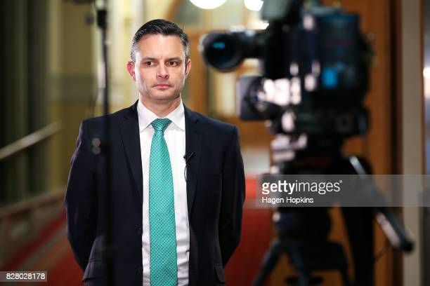 Green coleader James Shaw prepares for a television interview following the resignation of coleader Metiria Turei at Parliament on August 9 2017 in...