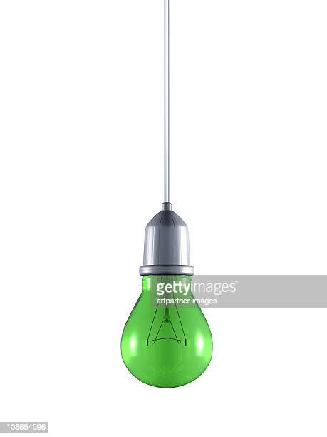 Green Conventional Light Bulb on a Cable