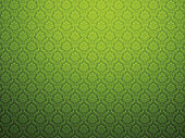 Green damask wallpaper with floral patterns