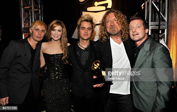 LOS ANGELES CA FEBRUARY 08 Green Day Alison Krauss and Robert Plant backstage at the 51st Annual GRAMMY Awards at the Staples Center on February 8...