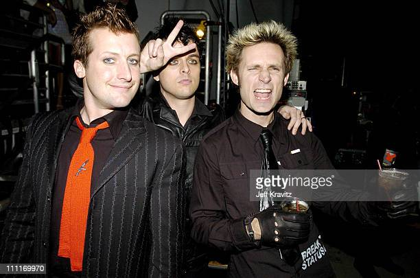 Green Day during Spike TV's 2nd Annual 'Video Game Awards 2004' Backstage at Barker Hangar in Santa Monica California United States