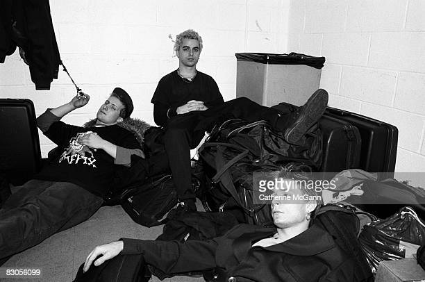 Green Day pose for a portrait backstage at Madison Square Garden in 1994 in New York City New York