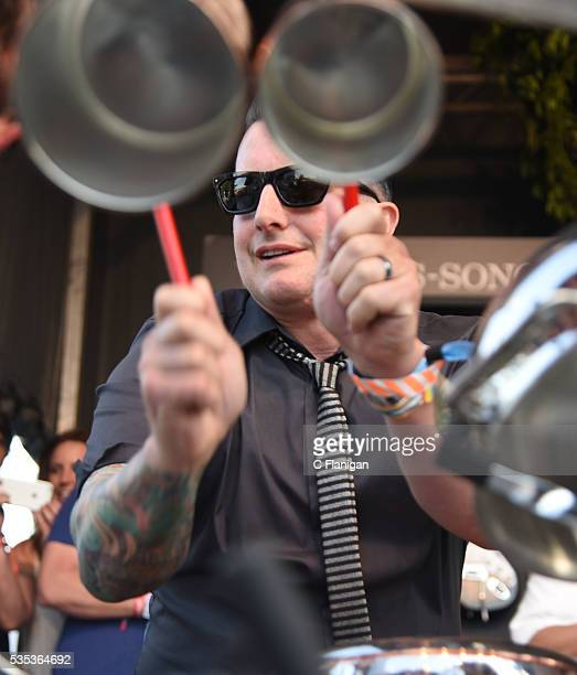 Green Day's Tre Cool performs on a pot and pan drum set at the William Sonoma cooking stage during the 2016 BottleRock Napa Valley Music Festival...