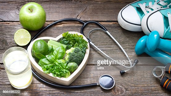 Green diet and sport healthy lifestyle concept : Stock Photo
