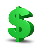 Green Dollar Sign with a highlighted bevelled edge.