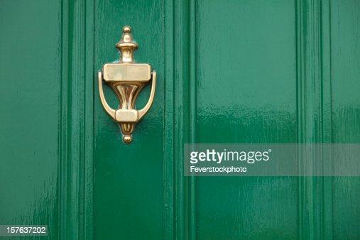 Green Door With Brass Knocker