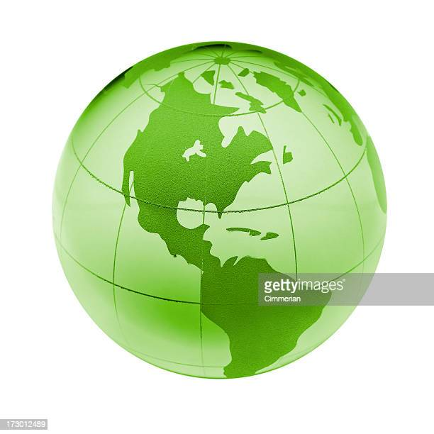 Green earth globe isolated on white