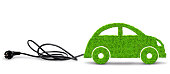 Green eco car with electric plug on white background. Concept of ecology transport.
