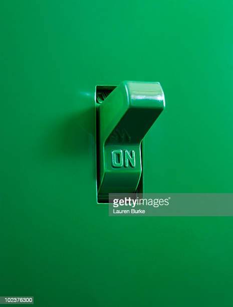 Green Electrical Switch in the On Position