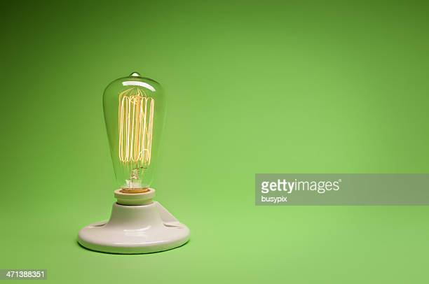 Green Energy Incandecent Lightbulb w/ copy space.