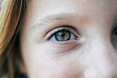 Close up of a green eye belonging to a little girl, 7 year old child with beautiful natural bright eye color