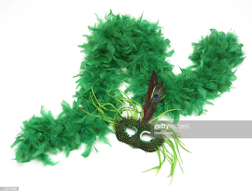 'Green feather boa and mask, close-up'