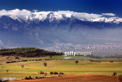 Green Fields and Snowy Mountains, Denizli, Turkey