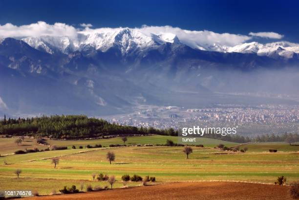 Green Fields and Snowy Mountains, Denizli, Turkey