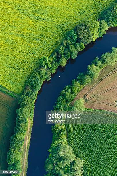 Green fields summer crops river aerial view