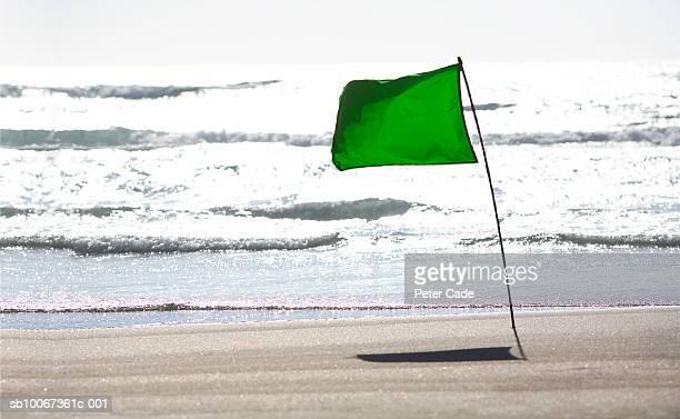 Green flag on beach
