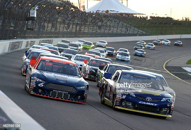 Green flag start of the NASCAR KN Pro Series #ThanksKenny 150 race at Iowa Speedway on July 31 2015 in Newton Iowa