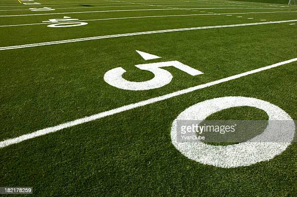 Green football field with white lines and numbers