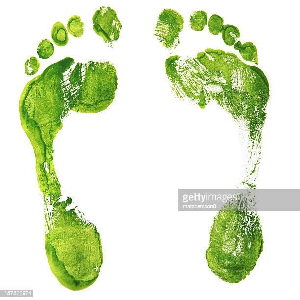 Green Footprints - isolated XXL
