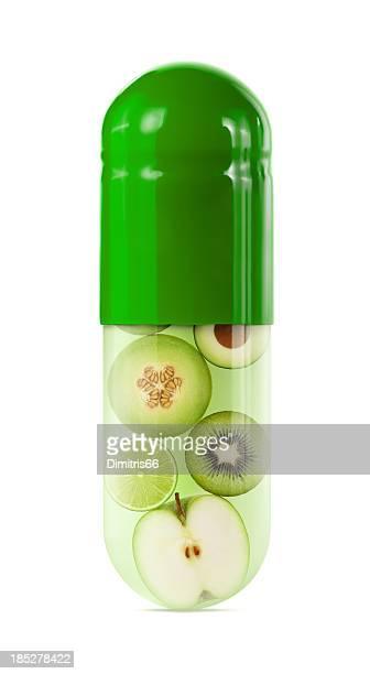 グリーンのフルーツと野菜のカプセル