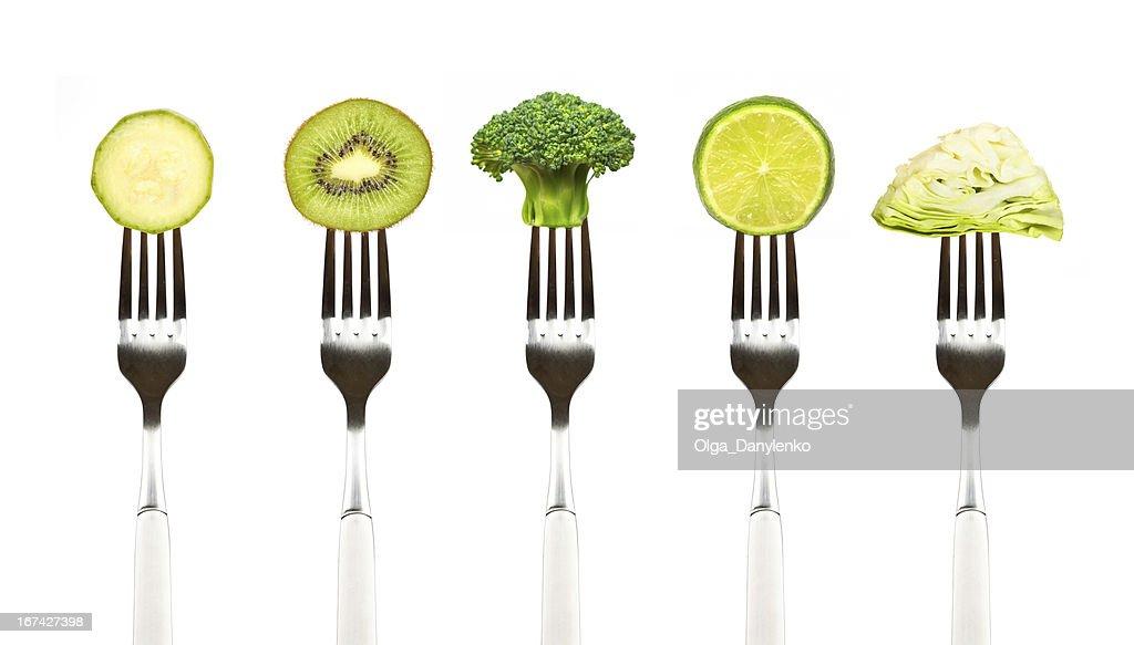 Verde frutas y verduras en la colección de forks : Foto de stock