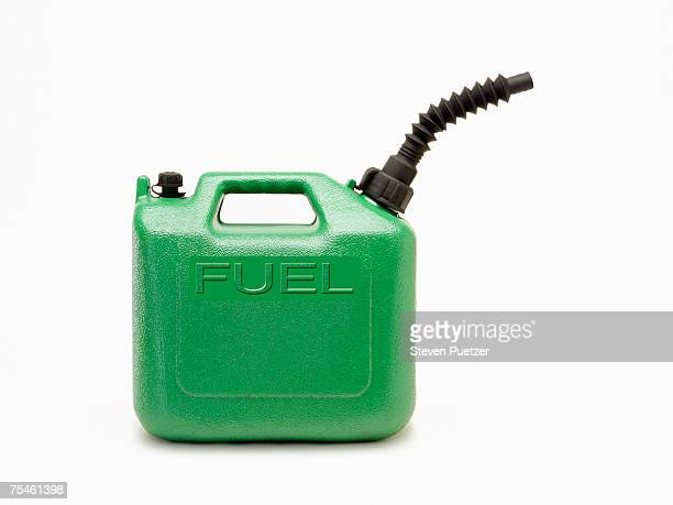 Green fuel can on white background, side view