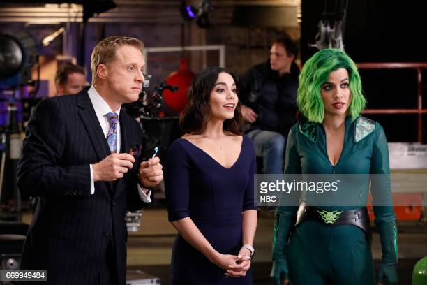 POWERLESS 'Green Furious' Episode 111 Pictured Alan Tudyk as Van Vanessa Hudgens as Emily Natalie Morales as Green Fury