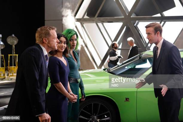POWERLESS 'Green Furious' Episode 111 Pictured Alan Tudyk as Van Vanessa Hudgens as Emily Natalie Morales as Green Fury Matt Oberg as Donovan Boucher