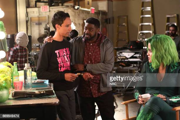 POWERLESS 'Green Furious' Episode 111 Pictured Danny Pudi as Teddy Ron Funches as Ron Natalie Morales as Green Fury
