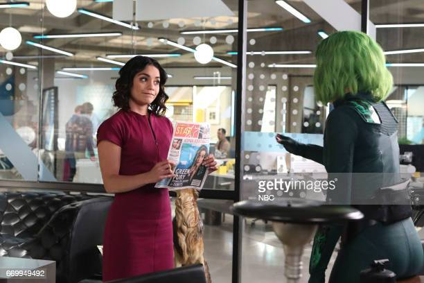 POWERLESS 'Green Furious' Episode 111 Pictured Vanessa Hudgens as Emily Natalie Morales as Green Fury