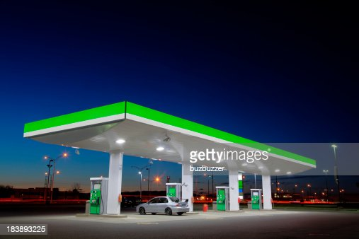 Green Gas Station Lights at Night