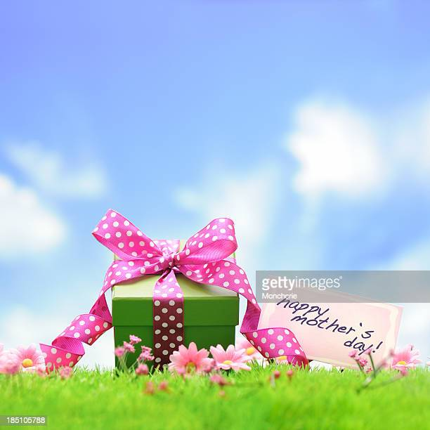 Green gift box with pink ribbon