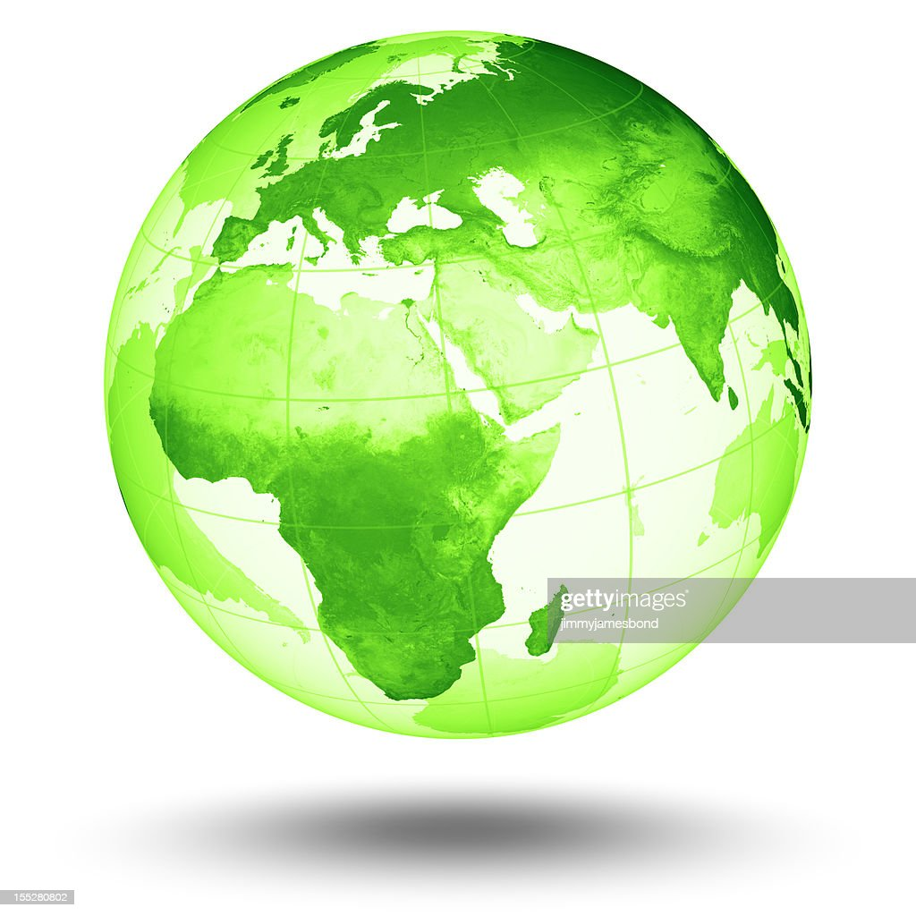 Green Globe - European Eastern Hemisphere : Stock Photo