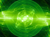 Green glowing fusion in space, plasma force field, computer generated abstract background, 3D rendering